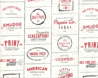The Print Shop Cream Red Logos Yardage by Sweetwater for Moda Fabrics  (5740 13) - Cut Options Available