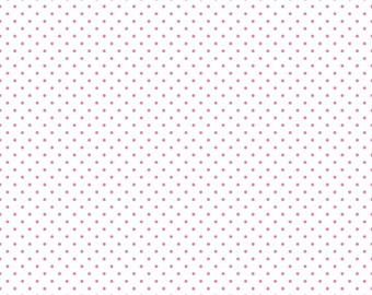 Riley Blake Designs, Swiss Dots Hot Pink on White  (C660 70)