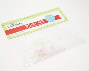 Lori Holt Hexie Half Ruler Set for Riley Blake Designs - includes 2 Hexie Half Rulers, designed to be used with Charm Packs and Layer Cakes