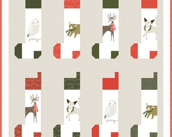 "Christmas Stockings Quilt Kit featuring Merriment by Gingiber for Moda Fabrics (KIT48270)  - 55"" x 56"" quilt"