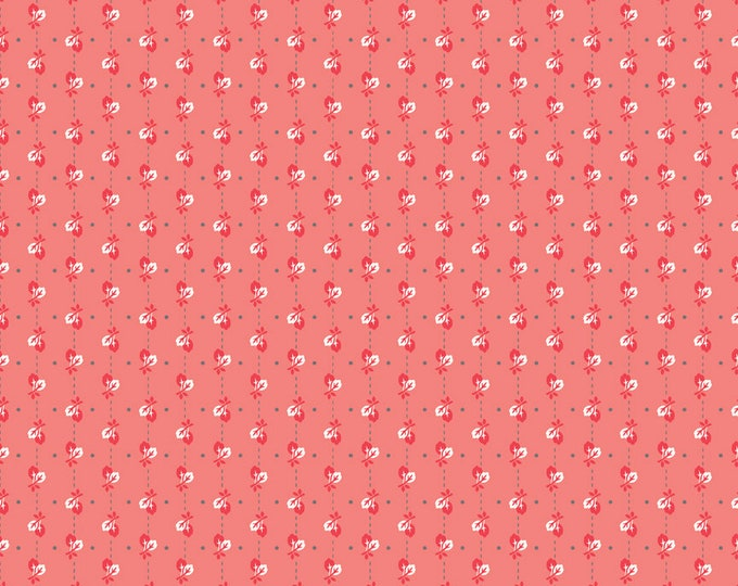 Autumn Love by Lori Holt Leaves Coral (C7363-CORAL)