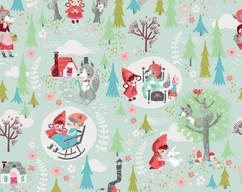 Little Red In The Woods Main Mint SALE (C8080-MINT) by Jill Howarth - Children's Fabric