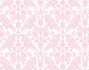 "RBD, Medium Damask Baby Pink on White (C820 75) - 21"" remnant"
