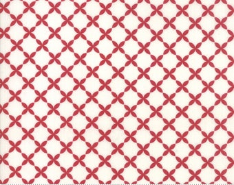 Sweet Tea Lattice in Vanilla and Red by Sweetwater for Moda Fabrics - (5725-14)