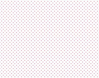 Swiss Dot On White Raspberry  (C660-Raspberry)