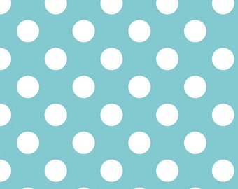 Aqua Medium Dots by Riley Blake Designs  (C360-20) Aqua Polka Dot Fabric - Cut Options Available
