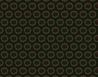 Winterberry - Black Wreaths - My Mind's Eye - Riley Blake Designs - Christmas Fabric - Cut Options Available (C8445 BLACK)