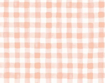Meadow Blush Painted Gingham Fabric by Rifle Paper Co. for Cotton and Steel Fabrics (RP208-BL2) - Cut Options Available