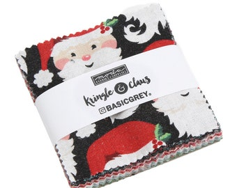 Kringle Claus Mini Charm - (30590MC) BasicGrey Kringle Claus for Moda Fabrics -  Cotton Quilting Fabric - Kringle Klaus