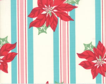 Sweet Christmas - Poinsettia Stripe - Coolmint (31150 21) Urban Chiks Sweet Christmas for Moda - Quilting Fabric - Cut Options Available