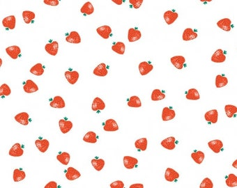 Dear Stella White Strawberries Yardage (STELLA-1265)  Strawberry Fabric - Cut Options Available