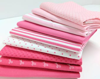 Pink and Raspberry FQ Bundle - 9 Fat Quarters - Pink Print Fabrics - Pink FQ Bundle