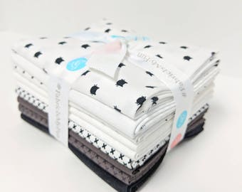Black and White Fat Quarter Bundle  SALE - 9 Fat Quarters - assembled by Christopher Thompson (The Tattoed Quilter) - FQ Bundle