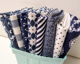 Stitches FQ Bundle - Blue & White Fat Quarter Bundle - (8) Navy, White FQs - Navy and White Quilting Fabric - Fat Quarter Bundle