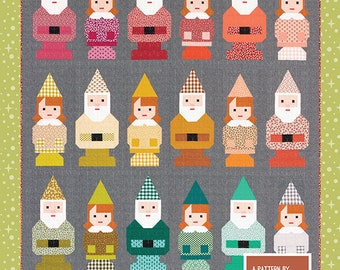 Norm and Nanette - Pattern by Elizabeth Hartman (EH 046) - Gnome Quilt Pattern - Garden Gnome Quilt