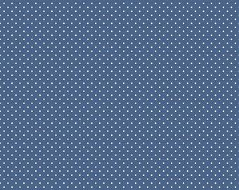 White Swiss Dot On Denim by Riley Blake Designs (C670 Denim) - Cut Options Available