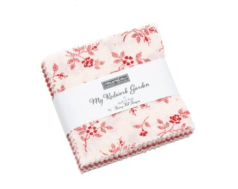 My Redwork Garden Mini Charm by Bunny Hill Designs - (2950MC) -  - Red and White Fabric
