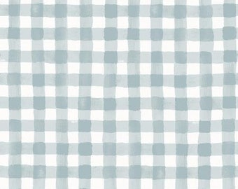 Meadow Slate Painted Gingham Fabric by Rifle Paper Co. for Cotton and Steel Fabrics (RP208-GY1) - Cut Options Available