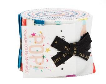 "Ruby Star Society Pop Junior Jelly Roll - (20) 2.5"" x 44"" fabric pieces - Rashida Coleman Hale for Ruby Star Society and Moda Fabrics"