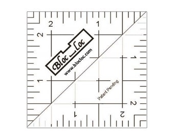 "Bloc-Loc 2.5"" Inch Ruler - Half Square Triangle Ruler - Square Up Ruler for HST - Quilting Tool"