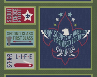 Modern Scouting - Scout Panel Green (C6205-Green) by Riley Blake Designs