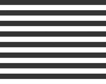 "Black Stripe Knit - 1/2"" wide Stripes - SALE - Riley Blake Designs -  Jersey KNIT Cotton Lycra Stretch Fabric - Cut options (K530-110)"