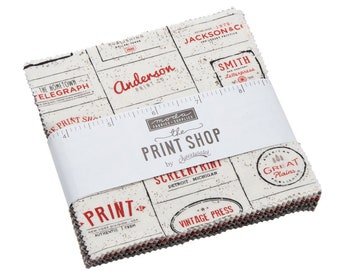 """Sweetwater Print Shop Charm Pack (5740PP) - Jelly Roll by Sweetwater for Moda Fabrics - 5"""" squares - Print Shop"""