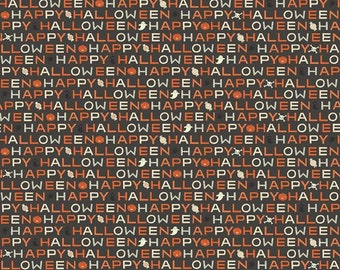 Cats, Bats, and Jacks Black Glow-in-the-dark Words by My Mind's Eye for Riley Blake Designs - Halloween Fabric (GC8055 BLACK)