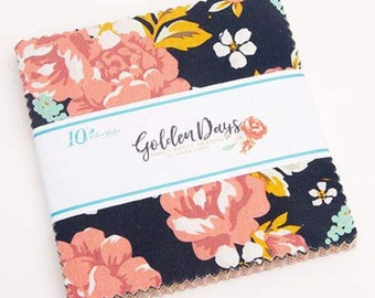 "5 inch Stacker Golden Days by Fancy Pants Design for Riley Blake Designs - Charm Pack - 5"" x 5"" squares - Precut Fabric"