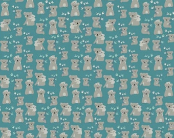 Joey Koalas Teal by Deena Rutter for Riley Blake Designs (C8491 TEAL) - Animal Fabric - Children's Fabric - Cotton Quilting Fabric