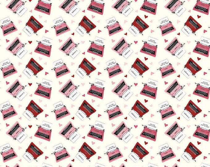 Hello Sweetheart Typewriter Cream fabric by Echo Park Paper Co. for Riley Blake Designs (C7625-CREAM)