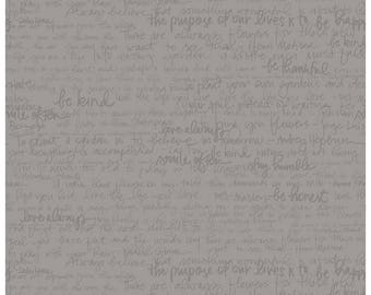 Riley Blake Designs, Tone-on-Tone Text Gray by Amanda Herring (C217-Gray)