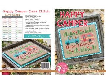 Happy Camper Cross Stitch Pattern by Lori Holt for It's Sew Emma- New Lori Holt Cross Stitch Pattern - Bee in My Bonnet