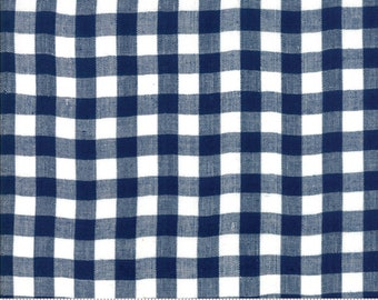 Bonnie and Camille Wovens Navy Check for Moda Fabrics  (12405 30) - Navy Gingham Fabric - Woven Fabric - Navy Check Fabric