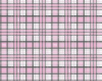 Adventure Awaits Light Pink Plaid (C6463-LTPINK)  Jeep Fabric for Riley Blake Designs - Pink Plaid Fabric