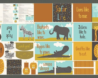 """Safari Life Cut & Sew Book Quilt Panel by Stacy Iest Hsu - 35"""" x 58"""" (20641 11)"""