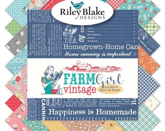 Farm Girl Vintage Half Yard bundle by Lori Holt (Bee in My Bonnet) for Riley Blake Designs -  Complete set