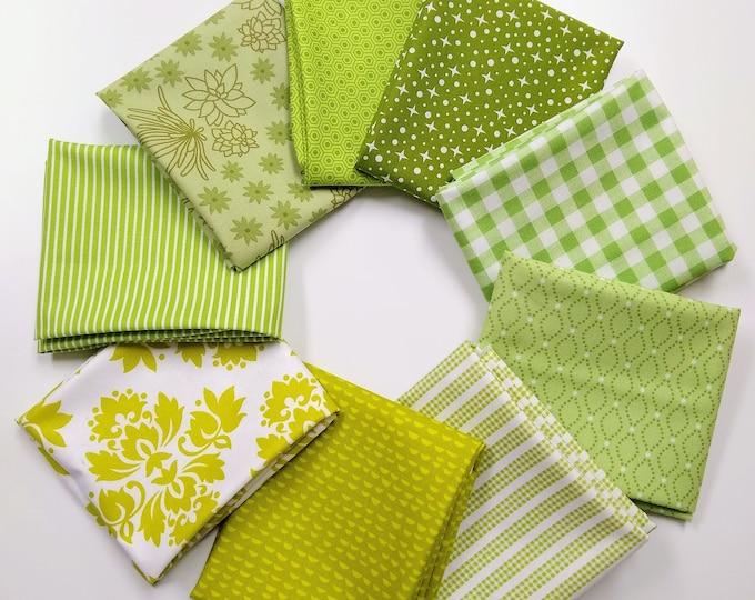 Stitches - Shades of Green FQ bundle - 9 FQ's