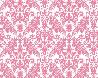 RBD, Medium Damask Hot Pink on White (C820 70) - cut options available