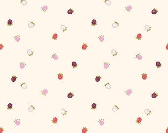 Wild Bouquet Cream Raspberries by Citrus and Mint Designs (C7473-CREAM) - Low Volume Fabric - Raspberry Fabric