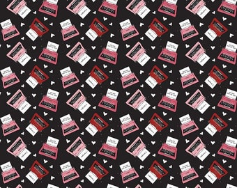 Hello Sweetheart Typewriter Black fabric by Echo Park Paper Co. for Riley Blake Designs (C7625-BLACK)