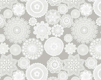 Vintage Keepsakes Doily Gray (C7862-GRAY by Beverly McCullough of Flamingo Toes for Riley Blake Designs.