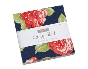 """Early Bird Charm Pack by Bonnie and Camille (55190PP) for Moda - Quilting Cotton Fabric - 5"""" x 5"""" Precut Fabric Squares"""