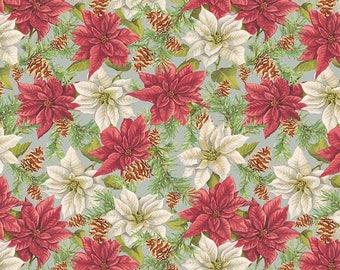 Anne of Green Gables Christmas - Poinsettias Gray (C6491-Gray) - SALE - Christmas Fabric