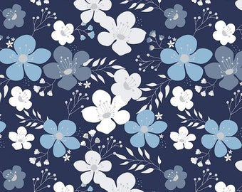 Something Borrowed Main Navy Floral Fabric  by Christopher Thompson (The Tattooed Quilter) for Riley Blake (C8420-NAVY)