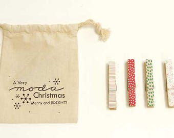 Merry & Bright Clothespins Set by Me and My Sister for Moda - SALE - Clearance!