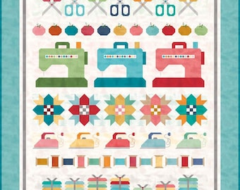 "Lori Holt ""Sew by Row"" Quilt Pattern - Makes 74"" x 85"" Quilt - (P018-SEWBYROW) - Lori Holt Quilt Pattern"