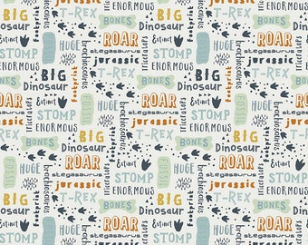 Fossil Rim 2 Cream Words by Deena Rutter for Riley Blake Designs (C8871-CREAM) - Dinosaur Fabric - Cut Options Available