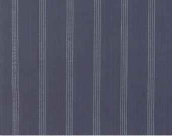 Northport Silky Wovens Navy Stripe by Minick & Simpson for Moda Fabrics  (12215 23) - Patriotic Fabric - Stripe Fabric