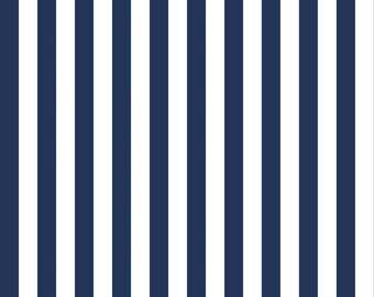 "Navy  Half Inch Stripe by Riley Blake Designs (C530 21) - 21"" remnant"